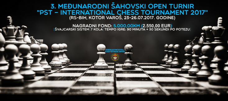 3. PST - International Chess Tournament 2017, biće održan od 23. do 26. jula
